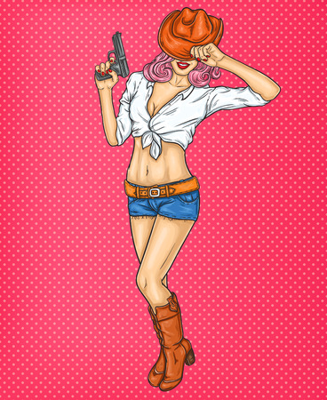 belt up: Vector pop art pin up illustration of a rodeo girl in cowboy hat and gun in her hand Illustration