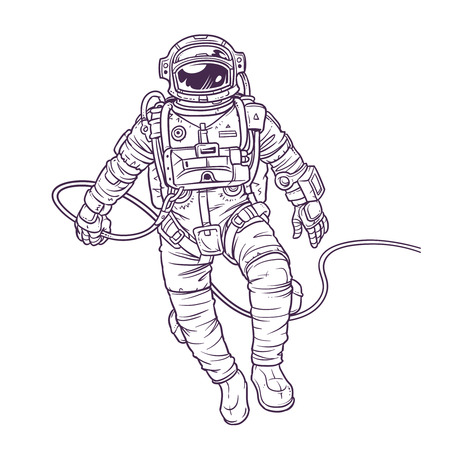 Vector illustration cosmonaut, astronaut on a white background. Print for T-shirts Vettoriali