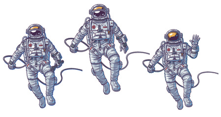 Vector set of illustrations cosmonauts, astronauts on a white background. Print for T-shirts 向量圖像