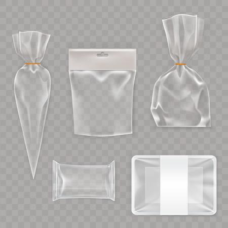 Vectorverzameling mock-up, verpakking voor voedsel en snackproducten. Pakket sjabloonontwerp voor branding.