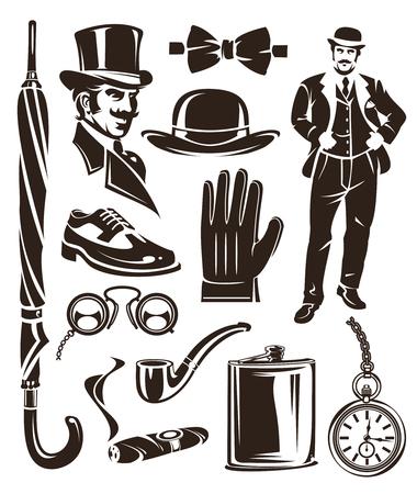 Set of vector vintage gentleman emblems, labels, icons and design elements.