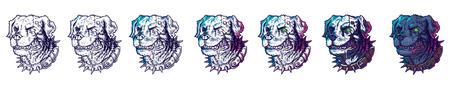 wścieklizna: Vector set of illustrations of evil mad dogs grinning teeth