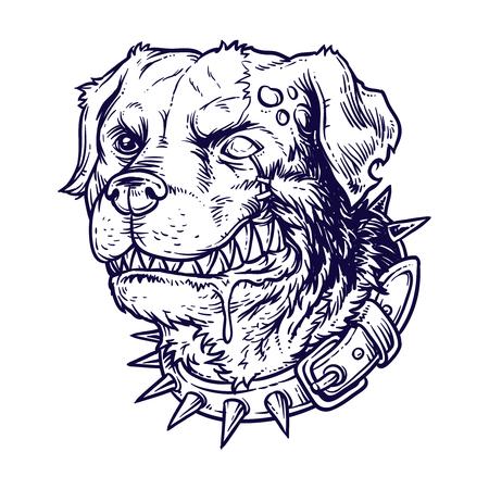 Vector illustration of evil mad dog grinning teeth. Engraving style Illustration