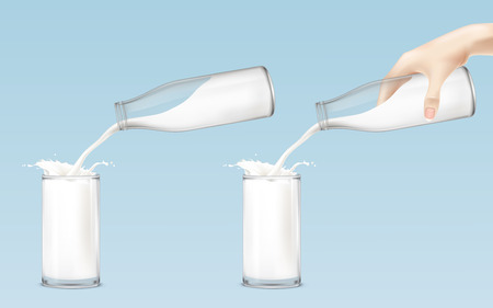 poured: Set of vector icons milk from the bottle is poured into a glass