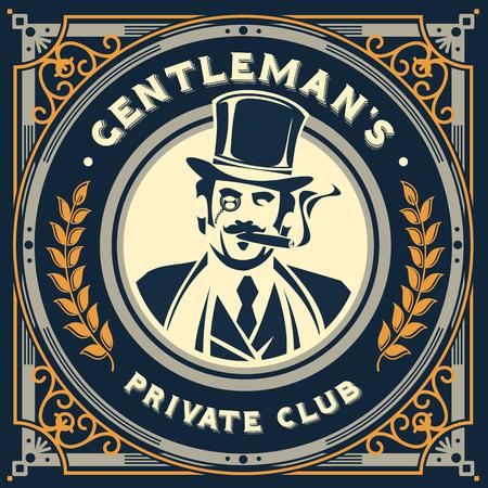 Vector vintage gentleman emblem, label, signage and sticker Stock Illustratie