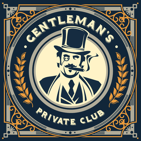 Vector vintage gentleman emblem, label, signage and sticker Vettoriali