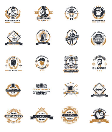 Set of vector vintage gentleman emblems, labels, icons, signage and design elements.