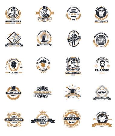 Set di vettore vintage gentiluomo emblemi, etichette, icone, segnaletica ed elementi di design. Vettoriali