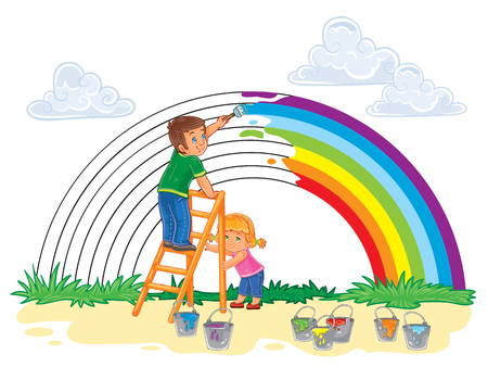 carefree: Vector illustration of a carefree young children paint a rainbow of colors