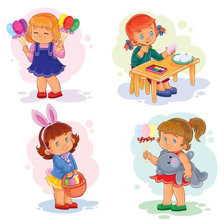 Conjunto de ilustraciones de arte Vector de imágenes con niños pequeños sobre el tema de Pascua Ilustración de vector