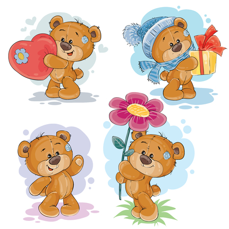 love declaration: Set of vector clip art illustrations of teddy bears in various poses - holding a heart, flower, gift Illustration