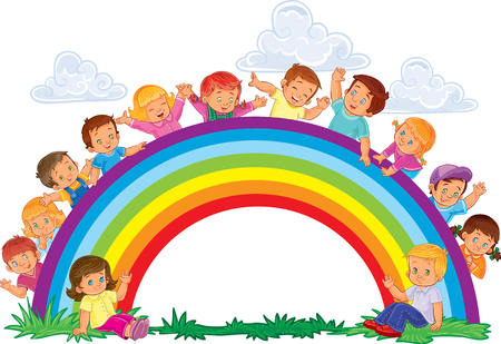 look out: Vector illustration of a carefree young children look out from behind the rainbow Illustration