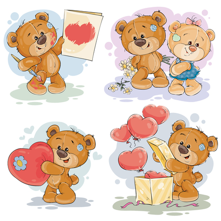 Set of vector clip art illustrations of enamored teddy bears in various poses - holding a valentine postcard, heart, unpacks gift, giving flowers to girlfriend