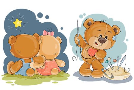 Set of vector clip art illustrations of enamored teddy bears in various poses - sitting embracing, admiring the stars, he sews himself heart Illustration