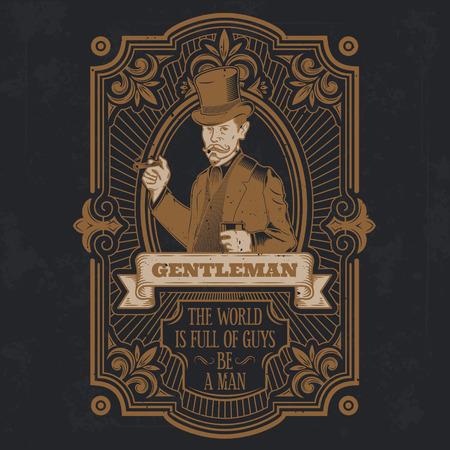 Vector vintage gentleman emblem, label, signage and sticker Illustration