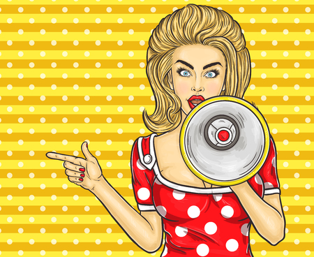 Vector illustration pop art girl with megaphone announce discounts and sales Ilustrace