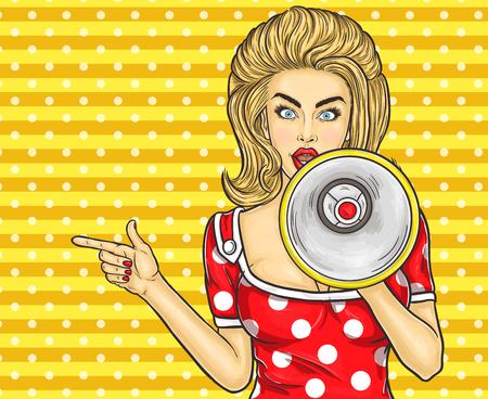 Vector illustration pop girl art avec mégaphone annoncer des rabais et des ventes Banque d'images - 68647907
