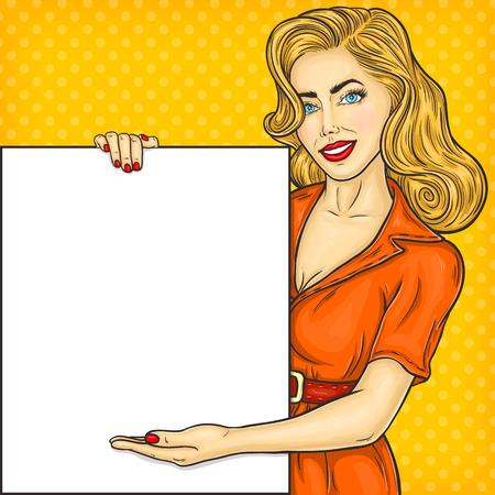 Vector illustration pop art girl showing ads, information, sale announcement Illustration