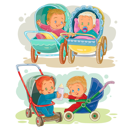 soother: Set illustrations of little kids in a baby carriage and stroller