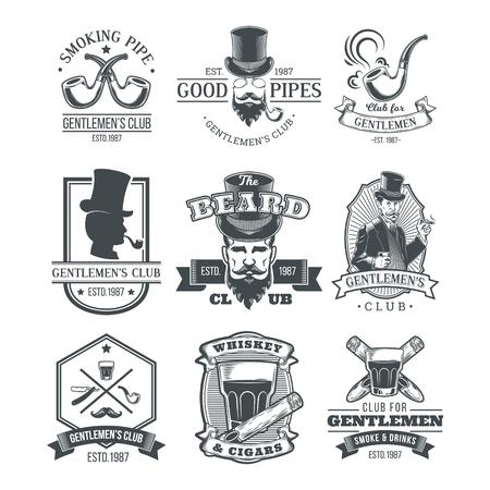 Zestaw rocznika gentleman emblematy, etykiety.