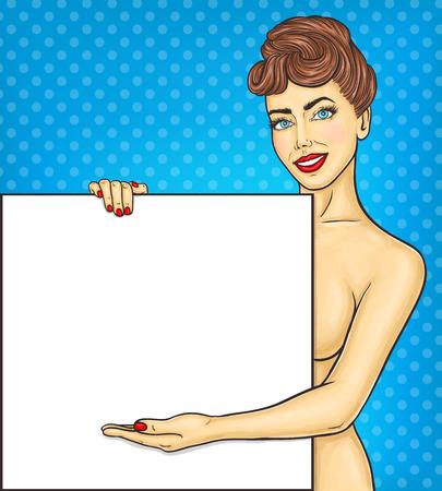 nude girl: Pop art girl showing ads