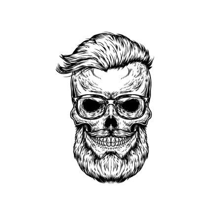 of helloween: illustration of human skull in sunglasses Stock Photo