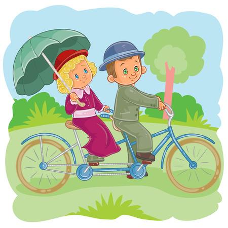 Vector illustrations small children on vintsge bicycles Illustration