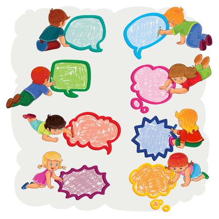 niños platicando: Pequeños niños y niñas dibujan un discurso burbujas