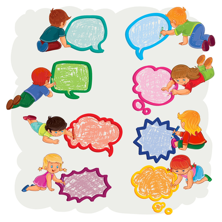 Small boys and girls draw a speech bubbles Illustration