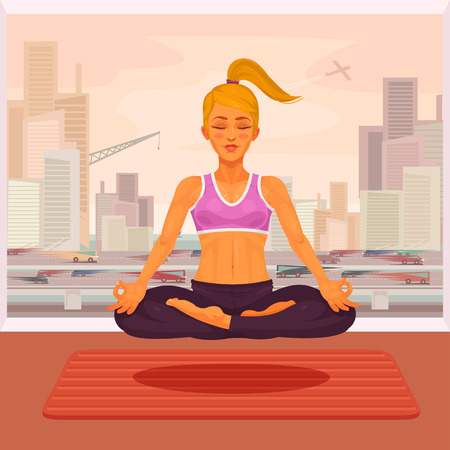 citylife: illustration of a girl yoga in the lotus position