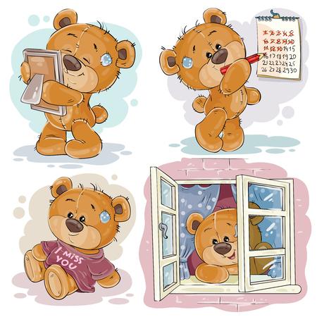 Set vector clip art illustrations of bored teddy bears.