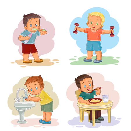 Morning clip art illustrations with young children Stock Illustratie