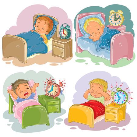 Set illustration babies sleep, morning awakening Illustration