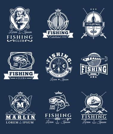 Set de badges vecteur, autocollants sur la capture du poisson.
