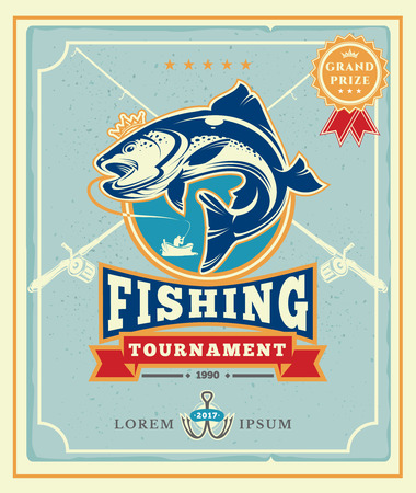 salmon fishery: Poster with the announcement of the fishing tournamen