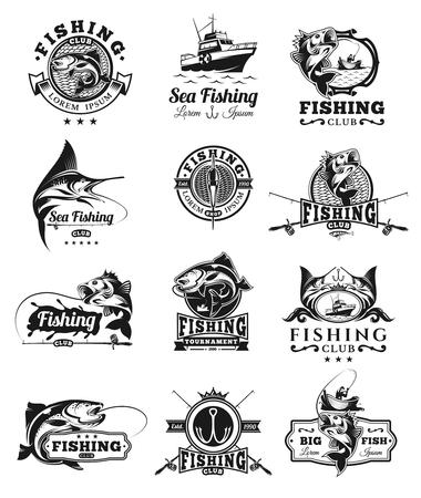 벡터 배지, 잡기 물고기에 스티커의 집합입니다.