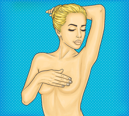 Pop art nude woman covers breasts with her hands
