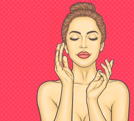 perfect face: Pop art beautiful young woman makes a face massage Stock Photo