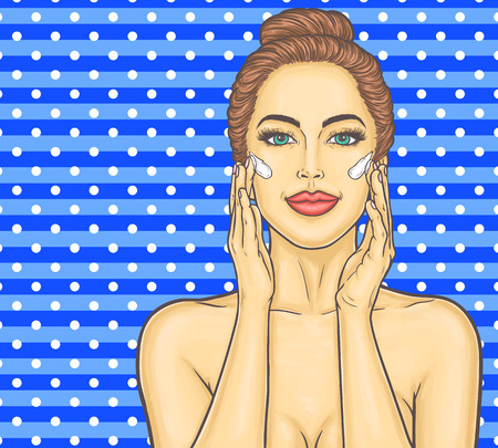 female face closeup: Pop art beautiful young woman makes a face massage Stock Photo