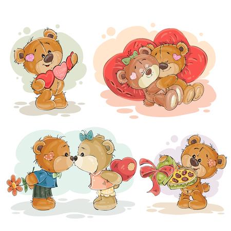 enamored: Set vector clip art illustrations of enamored teddy bears