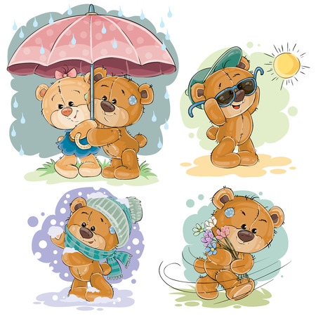 winter fun: Clip art illustrations of teddy bear and different seasons