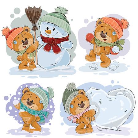 enamored: Set vector clip art illustrations of funny teddy bears