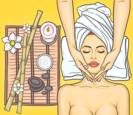 perfect face: Pop art beautiful woman in the spa salon Stock Photo