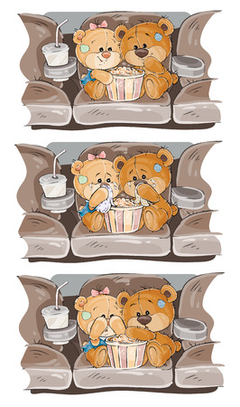melodrama: Set vector clip art illustrations Teddy Bears are watching a movie Illustration