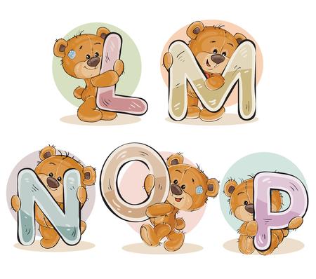 cartas de vectores Conjunto del alfabeto Inglés con el oso de peluche divertido Ilustración de vector