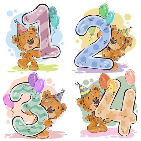 Vector set getallen met een leuke teddybeer