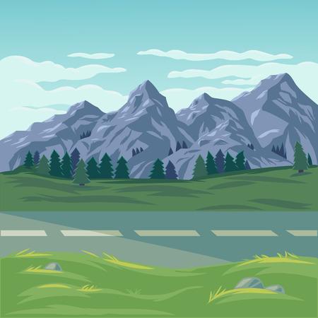 ilustración de un paisaje de montaña