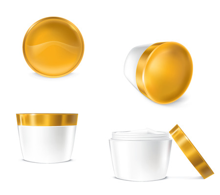 set of illustrations for cosmetics containers.