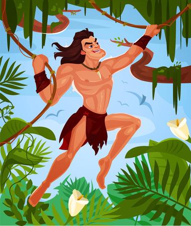Tarzan swinging on vines