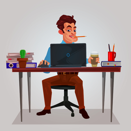 man: illustration of a man working on the laptop Stock Photo